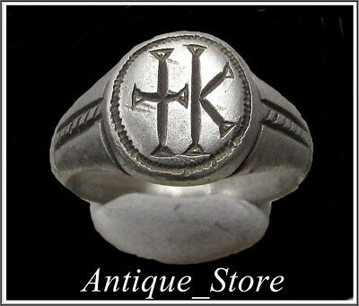 Ancient Silver Byzantine Ring** CROSS ** K ** VERY RARE**