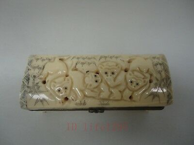 Superb Collection Ornaments Asian China Old Hand Carved Vivid Monkey Jewelry Box