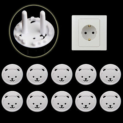 10 PCs Power Kid Socket Cover Baby Child Protector Guard Mains Point Plug Bear