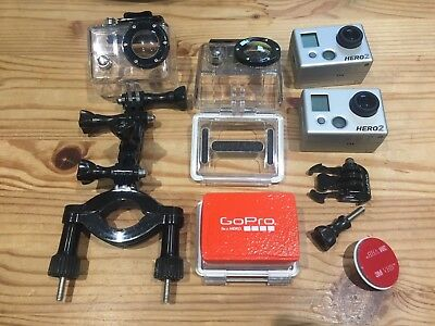 2 x GoPro Hero 2, with 3D Case, Bundle of Extras,Carry Case,Leads & Attachments