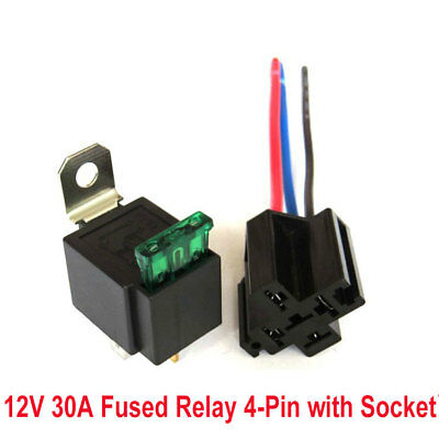 DC12V 30A Fused Relay 4 Pin with Fuse Holder Car Relay Switch Harness Set