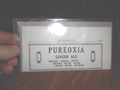 Pureoxia Ginger Ale (Vintage Soda Companies Boston) Ad from 1921