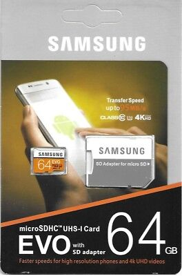 Samsung 64GB microSDHC UHS-I 95MB/s Class 10 memory card with Adapter