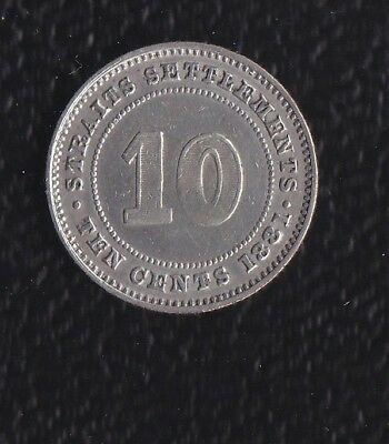 Malaysia  Straits Setlamets  10 Cents 1881 Silver