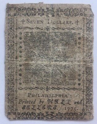 1775 Philadelphia $7 Colonial Note **READ DESCRIPTION**