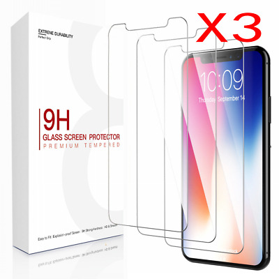 [3 Pack] For iPhone XR XS Max X Screen Protectors Tempered Glass Thin Protection