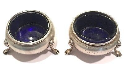 Vintage Solid Sterling Silver Pair Of Footed Salt Cellars 126 Grams Ex Condition