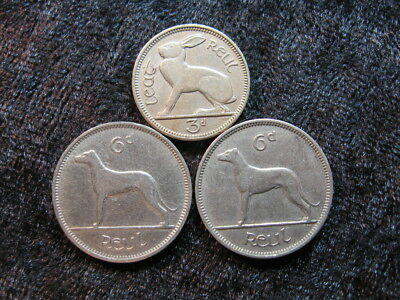 3 old world coin lot IRELAND 3 & 6 pence rabbit hare wolfhound dog 1940 - 1961