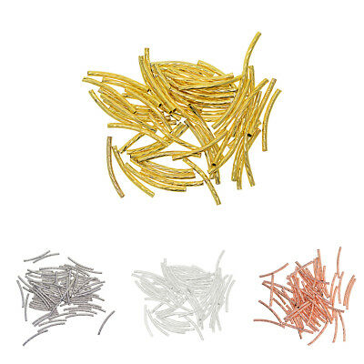 50x Curved Tube Noodle Spacer Loose Beads for DIY Jewelry Necklace Bracelet