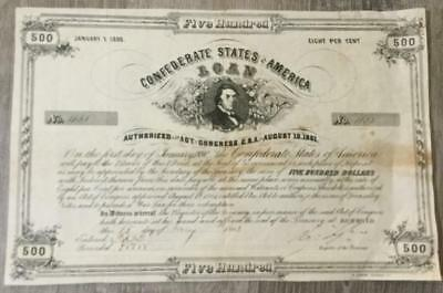 1861 $500 US Confederate States of America! Bond! Old US! Hard to Find!