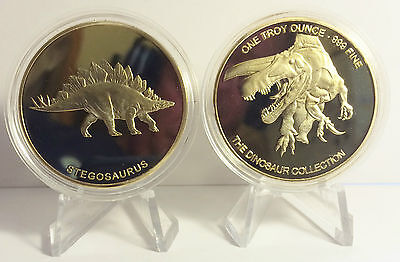 """2014 1 OZ STEGOSAURUS COIN """"The Dinosaur Collection"""" Finished in 999 24k Gold"""