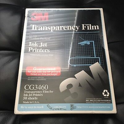3M Transparency Film for Ink Jet Printers CG3460 50 Sheets Sealed FREE SHIPPING