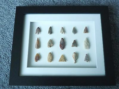 Neolithic Arrowheads in 3D Picture Frame, Authentic Artifacts 4000BC (W016)