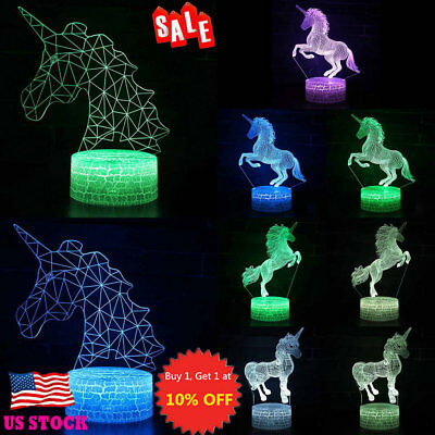 Remote Touch Control 3D LED Night Light Unicorn Color Change LED Table Desk Lamp