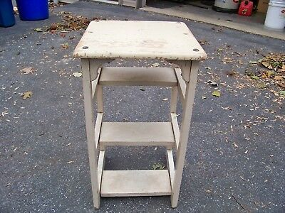 Antique Hoosier Cabinet Kitchen Step Stool With Label
