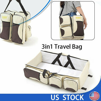 3 in 1 Portable Fold Infant Baby Bed Bassinet Diaper Changing Nappy Travel Bag