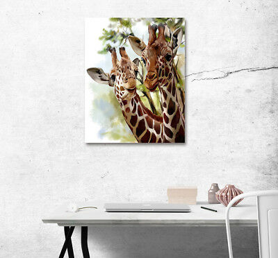 "Cute Giraffes 16x20"" Modern Wall Art Poster Print On Home Decor Canvas Painting"