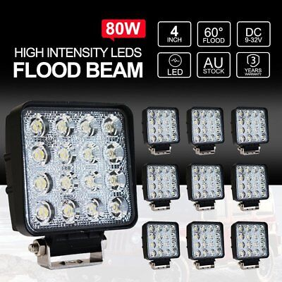 10X 80W Square LED Work Light Flood Lamp Offroad Truck Tractor Boat Bar BO