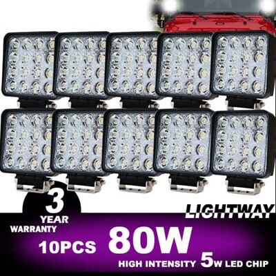 10x 80W FLOOD LED Work Lights Bar Offroad 4WD Truck 12V 24V Fog Work Lamp AU NU