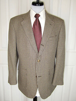 Brooks Brothers Golden Fleece Tan Houndstooth Check Silk Wool Sport Coat 40 R