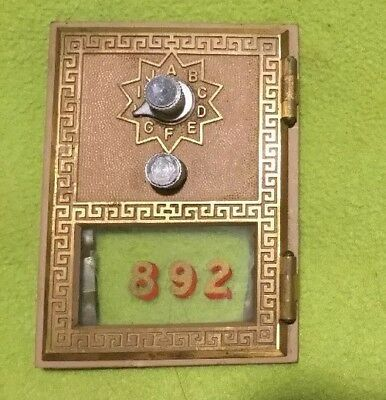 Vintage ~ Post Office Box Door ~ Brass ~ Combination Dial ~ No. 892