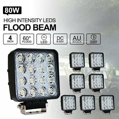 8x 80W FLOOD LED Work Lights Bar Offroad 4WD Truck 12V 24V Fog Work Lamp QH