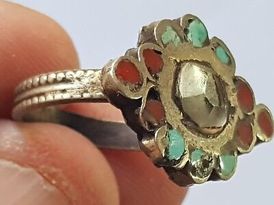 Extremly Rare Medieval Silver Ring With Very Rare Stones.4,8 Gr.17 Mm