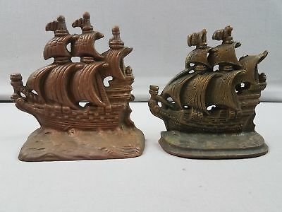 Vtg Pair Cast Iron Tall Ship Crusader Book Ends Mismatched Door Stops 1 w Damage