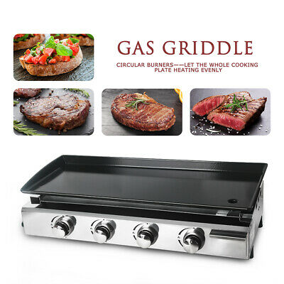 4 Burners LPG Gas Griddle Plancha Grill CE 84x34cm Cooking Plate Outdoor Grill
