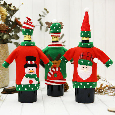 1 Set Red Wine Bottle Covers Bags Christmas Santa Clause Elk New Year Decoration