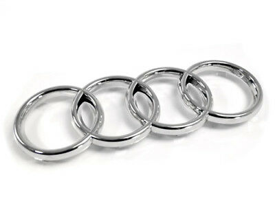 Audi Rings Grille Emblem Badge W/ Angled Clips - Chrome (275Mm X 95Mm)