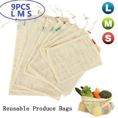 9x 3Size Eco Reusable Mesh Produce Bags Double-Stitched Strength Grocery Storage