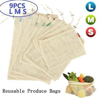 cotton REUSABLE PRODUCE BAGS Fruit Vegetable Bag Keeper Eco Mesh Bags Grocery