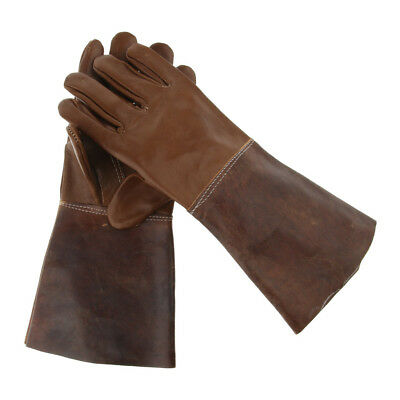 Leather Long Welding Protective Gloves Hand Cover Flame Resistant Gauntlets