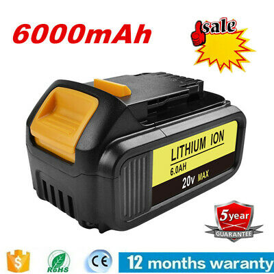 6000mAh DCB204-2 20V 20 Volt Max Li-Ion Battery Pack For DeWalt DCB200 EG