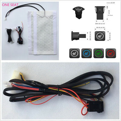12V Car Heater Seating Carbon Fiber Pad Cover+Three Files Colorful Swtich Button