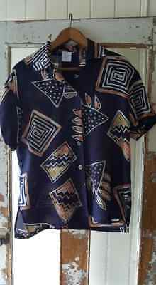 "vintage 1980s womens abstract ""Ugly"" button up shirt festival"