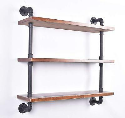 Industrial Pipe Wall Shelf,Storage Floating Shelving,32mm Pipe Kit 3 Tier 36''