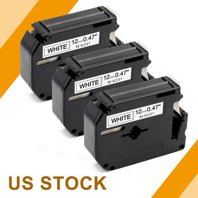 M-K231 MK231 Label Tape Black on white Compatible Brother P-touch maker 12mm 3PK