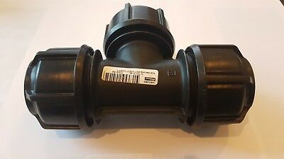 """Mdpe Philmac Tee Coupler Joiner Compression Fitting 32Mm/1"""" Brand New Free Ship"""