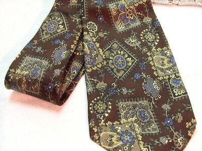 """HUGO BOSS  White Label  SILK  Tie Made ITALY -BROWN Blue Tan FLOWER FLORAL  62""""L"""