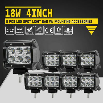 4Inch 18W CREE LED Work Light Bar Spot Truck Offroad 12V24V Driving Lights 2-8Pc