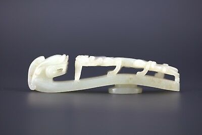 A Chinese Antique Carved Dragon White Jade belt Hook Qing Dynasty