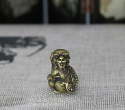 Chinese Old Collectibles Pure brass Beast Animal lion fo dog small statue