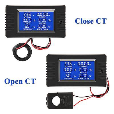 Digital LCD AC 100A Volt Amp Watt Power Monitor Ammeter Voltmeter 80-260VAC