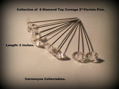 Collection of 8 Diamond Top Corsage  2 inch Florists  Pins. AH5551.