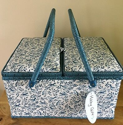 SEWING BASKET BOX 'SONGBIRD HEARTWOOD' LARGE TWIN LID Super Quality