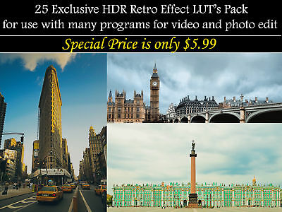 25 Exclusive HDR Retro Effect LUT's Pack