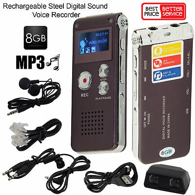 Digital Voice Recorder 8GB, MP3 Player with Mini USB Port - Free P&P Worldwide!