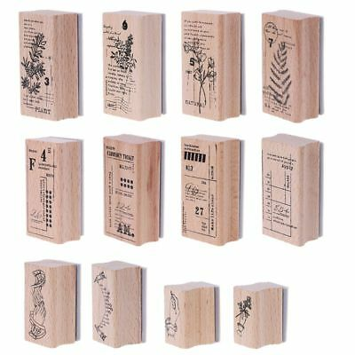 Raw Wood Rubber Stamp Vintage DIY Scrapbook Album Diary Card Decor Stationery